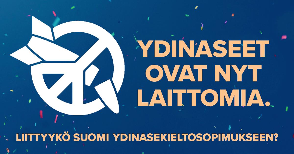 121 politiikan, tieteen ja kulttuurin vaikuttajaa vaatii Suomea liittymään YK:n ydinasekieltoon